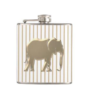 Minimalist Gold Elephant | Wild Animal Elegant Hip Flask
