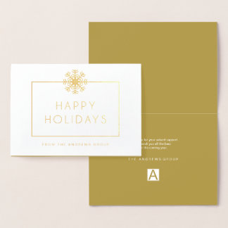 Minimalist Gold Foil Business Logo Holiday Foil Card