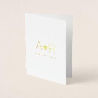 minimalist gold foil heart / monogram love wedding foil card