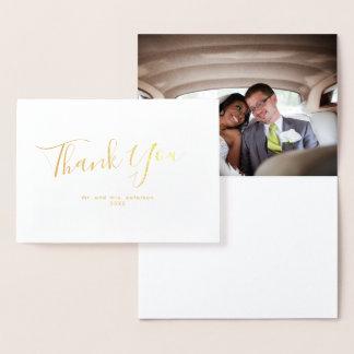 Minimalist Gold Foil Photo Wedding Thank You Foil Card