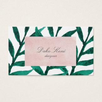 Minimalist green leaves business card