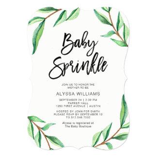 Minimalist Green Leaves on White Baby Sprinkle Card