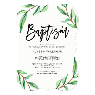 Minimalist Green Leaves on White Baptism Card