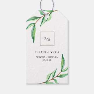 Minimalist Green Leaves on White Thank You Gift Tags