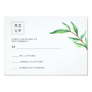 Minimalist Green Leaves on White Wedding RSVP Card