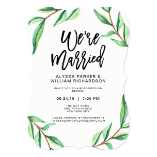 Minimalist Green Leaves on White | We're Married Card