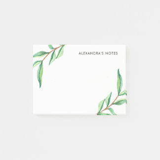 Minimalist Green Watercolor Leaves on White Post-it® Notes