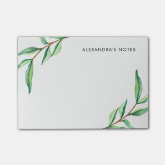 Minimalist Green Watercolor Leaves on White Post-it Notes