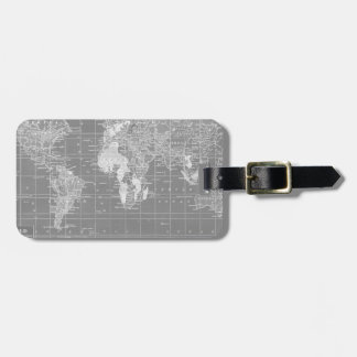 Minimalist Grey Vintage World Map Luggage Tag