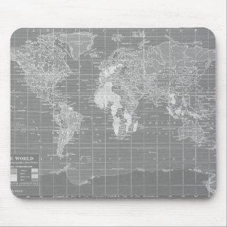Minimalist Grey Vintage World Map Mouse Pad