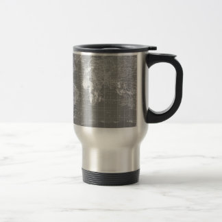 Minimalist Grey Vintage World Map Travel Mug