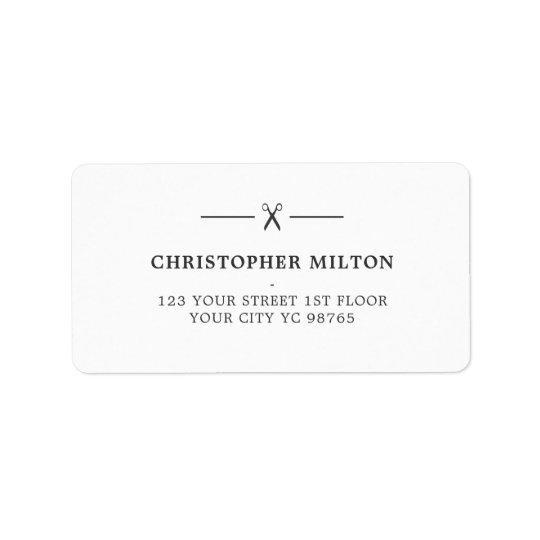 Minimalist Grey White Scissors Hair Salon Label