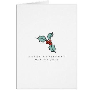 Minimalist Holly Berry Christmas Card