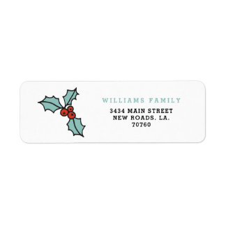 Minimalist Holly Berry Christmas Return Address Label