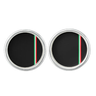 Minimalist Italian Flag Design Cuff Links