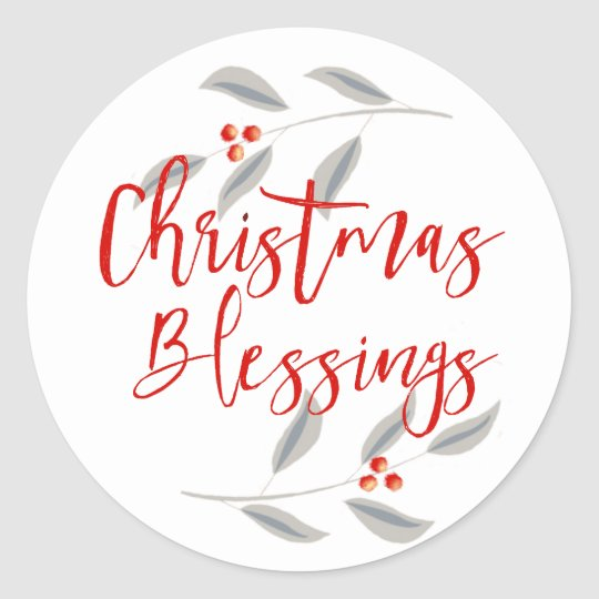 Minimalist Leaves & Berries Christmas Blessings Classic Round Sticker