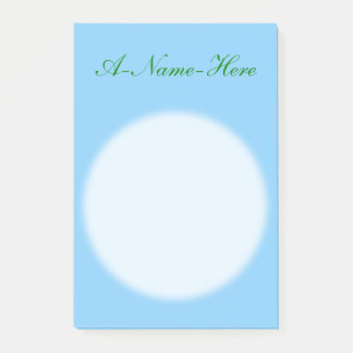 Minimalist Light Sky Blue Background + Green Name Post-it Notes