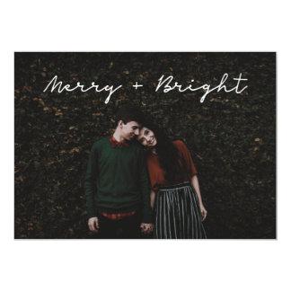 Minimalist 'Merry + Bright' photo card - flat