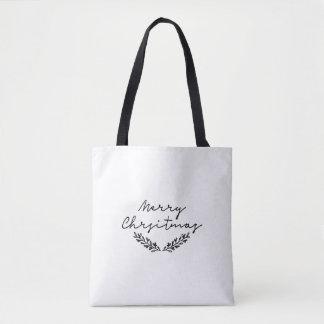 Minimalist 'Merry Christmas' tote | Christmas bag