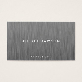 Minimalist Metallic Faux Gray Business Card
