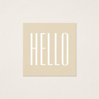 Minimalist modern bold hello beige business card