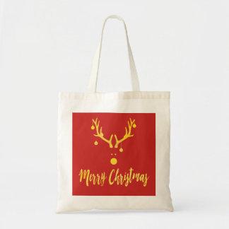 Minimalist modern Christmas gold reindeer red Tote Bag