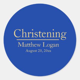 Minimalist & Modern Dark Blue and Gold Christening Classic Round Sticker