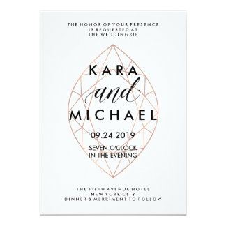 Minimalist Modern Geometric Diamond Wedding Card