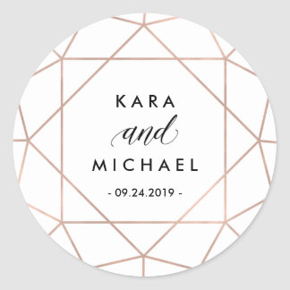 Minimalist Modern Geometric Diamond Wedding Classic Round Sticker
