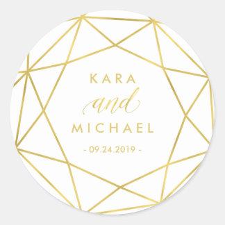 Minimalist Modern Gold Geometric Diamond Wedding Round Sticker