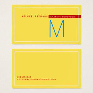 minimalist & modern, graphic designer yellow business card