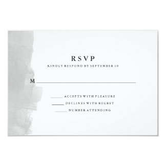 Minimalist Modern Gray Watercolor Splash RSVP Card
