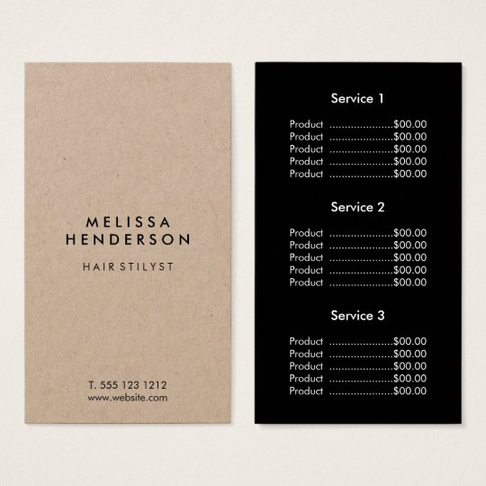 Minimalist Modern Kraft Price List Business Card
