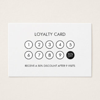 Minimalist Modern Loyalty Discount Black and White Business Card