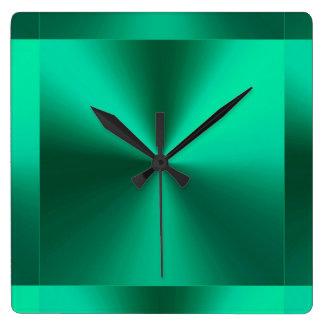 Minimalist Modern Metallic Green Square Wall Clock