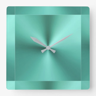 Minimalist Modern Metallic Mint Sage Green Wall Clocks