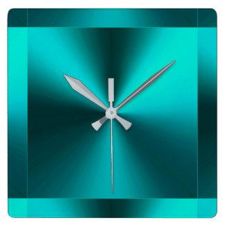 Minimalist Modern Metallic Teal Blue Green Square Wall Clock
