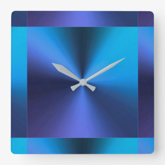 Minimalist Modern Metallic Turquoise Blue Wall Clocks