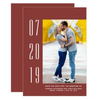 Minimalist Modern Photo Save the Date | Burgundy Card