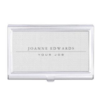 Minimalist modern professional white burlap business card holder