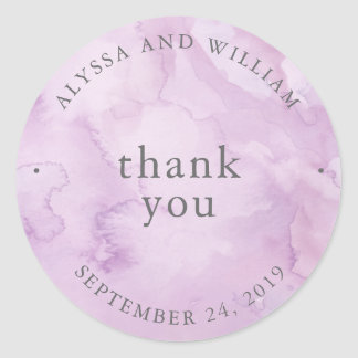Minimalist Modern Purple Watercolor Wedding Classic Round Sticker