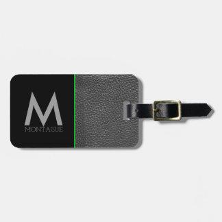Minimalist Monogram Black Leather & Lime Green Luggage Tag