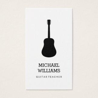 Minimalist Musician Acoustic Guitar Business Card
