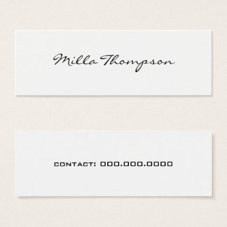 minimalist name & contact number white mini business card