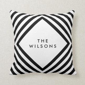 Minimalist Name Geometric Black Lines Pattern Throw Pillow