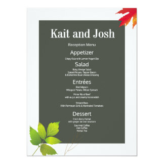 Minimalist Oak Maple Wedding Reception Menu Card