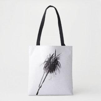Minimalist palm ink drawing tote bag