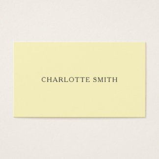 Minimalist pastel yellow modern business cards