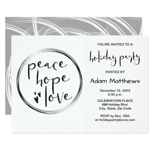 MINIMALIST, Peace, Hope, Love, Holiday Invitation
