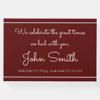 Minimalist & Personalized Funeral Guest Book